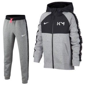 Nike Kylian Mbappe Fleece Trainingspak Kids Grijs Zwart Roze | Maat Trainingspakken